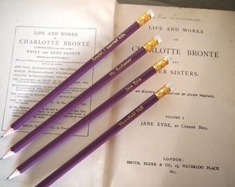Jane Eyre - set of 4 pencils - Thornfield Hall - Mr. Rochester - Reader, I married him - Charlotte Bronte novel - literary purple pencil set