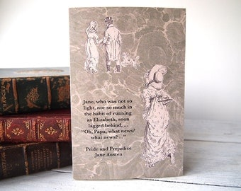Pride & Prejudice - Jane Austen  - what news? - literary greetings card - collage of marbled page and Victorian illustrations - blank inside
