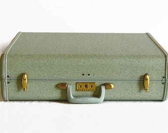LAYAWAY - RESERVED for D. *** vintage Samsonite suitcase with key crystal green 1940s 1950s travel wedding luggage