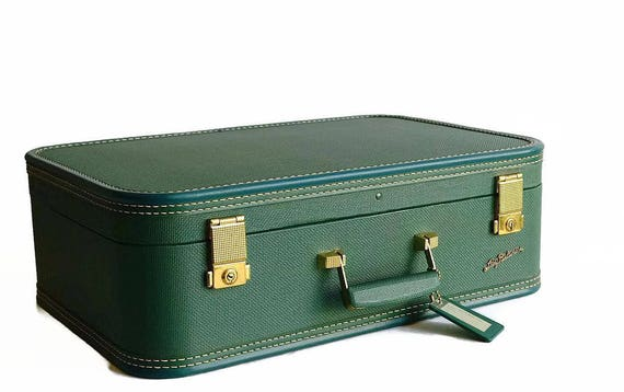 vintage suitcase with key forest green Lady Baltimore 1950s