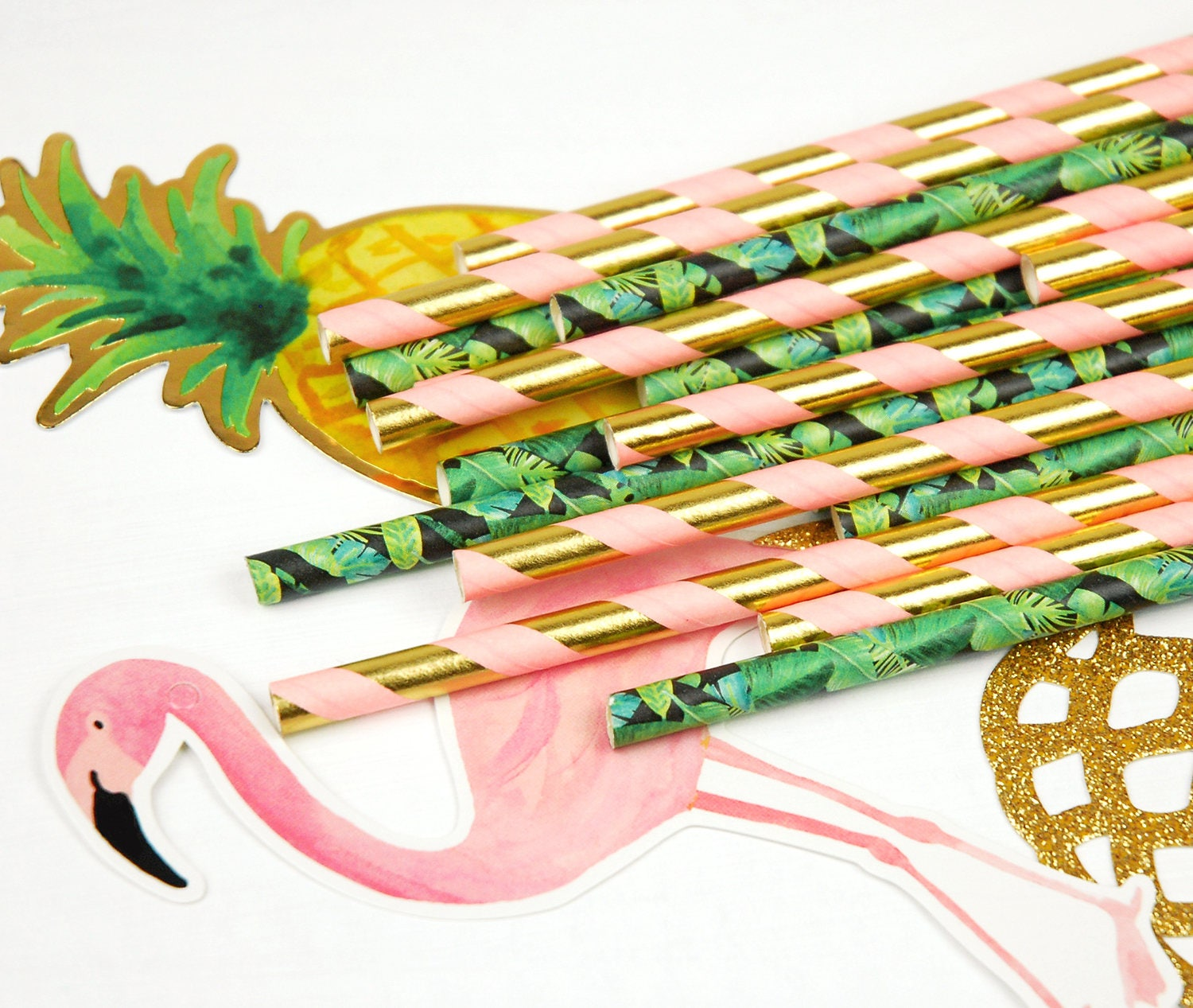 Tropical Paper Straws, Tropical Party Decor, Hawaiian Luau, Tiki Bar Supplies, Drinking Straws, Gold Pink, Summer Party, BBQ, Pineapple