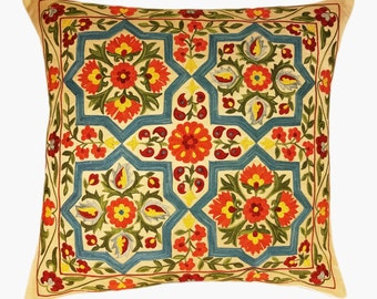 Suzani Pillow, Suzani Silk Pillow Cover SP7-21, Uzbek Suzani, Suzani, Decorative pillows, Accent pillows, Designer Pillows, Throw Pillows