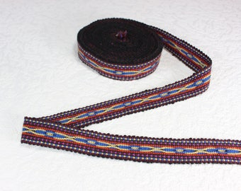 Woven Trim (6 yards), Woven Border, Cotton Ribbon, Grosgrain Ribbon, Dress Border, Border Trim, Ikat Fabric, R323