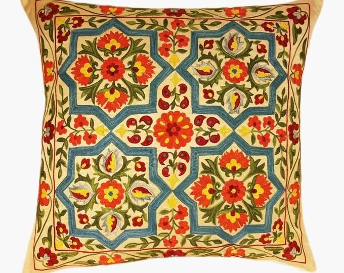 Suzani Pillow, Suzani Silk Pillow Cover SP7-21, Uzbek Suzani, Suzani, Decorative pillows, Accent pillows, Designer Pillows, Throw Pillows