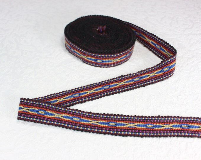 Woven Trim (6 yards), Woven Border, Cotton Ribbon, Grosgrain Ribbon, Dress Border, Border Trim, Ikat Fabric, R323