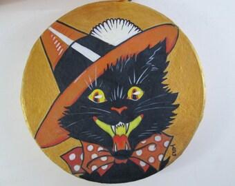 Vintage Style Black Cat Halloween Ornament