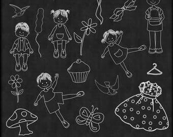 Chalk Art Mix,  Chalk Art, Chalkboard Clipart,  Clipart, Children Chalk Art, chalkboard Clip art, Instant Download