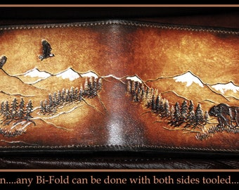 Father's Day gift, Men's Handmade Leather Wallet Eagles and Bear, Wild life Leather Billfold Stamped Front and Back, Dark Brown Leather