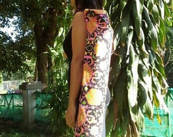 Yoga Mat Bag , Neon Flower Print, Hand made Yoga Bag,