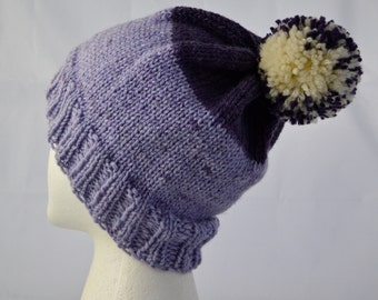 PomPom Hat, Striped Beanie, Hat with Pompom, Purple Watch Cap