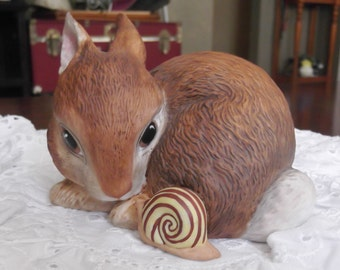 Vintage Rabbit and Snail Ceramic Collectible Figurine Slowpoke by Deborah Bill Jarrett