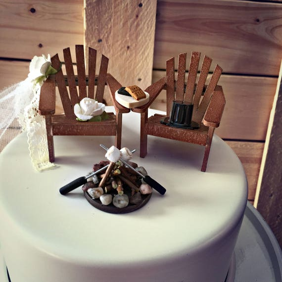 Rustic Smore Wedding Cake Toppers Topper Cabin Chairs Camping
