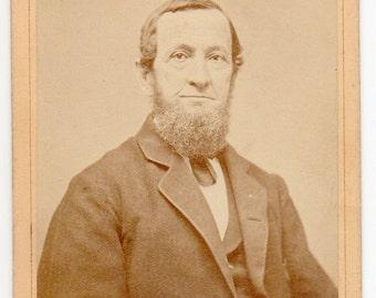 Stroudsburg Pennsylvania Edwardian Man With Beard Carte De Visite Antique Photograph Historical Monroe County Photo CDV