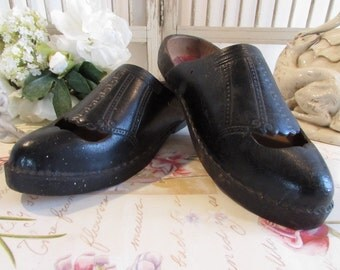 Antique French pair of old clogs, shoes with original label ....