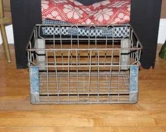 Large Vintage Wire Milk Crate Industrial Farmhouse Decor Cass Clay Creamery