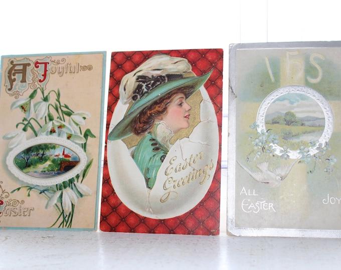 3 Antique Postcards Easter Victorian