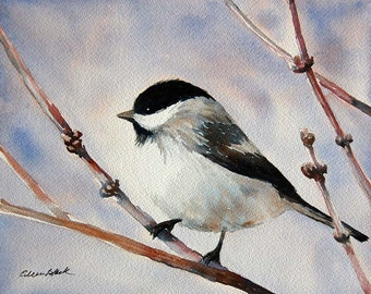 Watercolor ORIGINAL -Spring Chickadee - bird, spring, feathers, happy, joy
