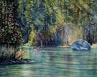 Watercolor ORIGINAL - String Lake - kayak, lake, forest, vacation, boat, Grand Teton National Park, peaceful