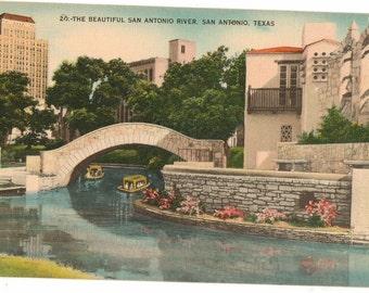 Linen Postcard, San Antonio, Texas, The Beautiful San Antonio River, ca 1940