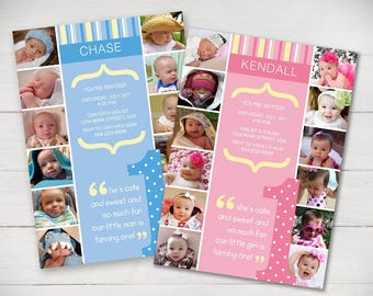 The First Year 1st Birthday Invitation Powder Pink or Baby Blue - Digital File