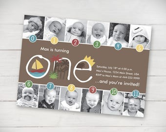 Wild Things Timeline First Birthday Invitation