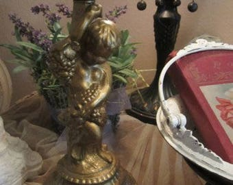 Vintage Cherub Angel Metal Stand Candle Holder Light Lamp Stand Pairs Flea Market