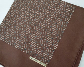 vintage silk HERMES pocket square, genuine hermes accessories, brown gold hermes haute couture, high fashion