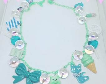 80s Inspired Kawaii Charm Necklace-Mint Green and Turquoise