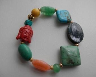 Mixed stones TURQUOISE, wood, Buddha bead Stretch Bracelet