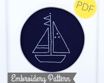 PDF Embroidery Pattern - Sailboat Embroidery Pattern - Sail Boat digital download - beginnner hand embroidery pattern - DIY needlecraft