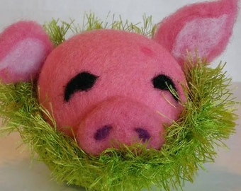 Needle Felted Pig Ball in Nest, 100% Wool Pig, Easter Basket Animal, Easter Decoration, Waldorf Inspired