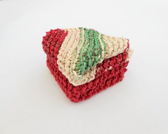 Knit Washcloths Red and Green Cotton Dishcloths Set of 2
