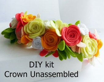 Diy kit Felt Crown UNASSEMBLED, felt flower crown unassembled,felt supplies, Felt Hand-Sewing Kit, Craft Felt Sewing Kit, diy Felt crown kit