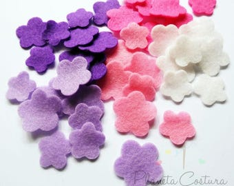 Felt flower Shapes, set of 60 pieces, felt cut out, felt shapes, felt flower, flower, applique, confetti, felt, felt suplies, diy craft