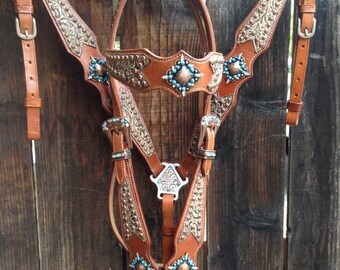 Western Leather Headstall  Breastcollar Set, Medium Oil Leather, Custom Made with Crystals & Turquoise Beads