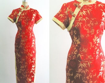 Vintage Red Chinese Dress Cheongsam Qipao Red Cheongsam Red Qipao Red and Gold Silk Chinese Dress Red Satin Chinese Dress Medium Larg