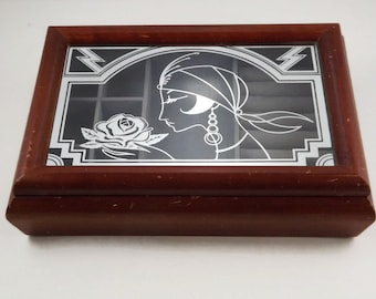 Art Deco Style Flapper Lady Wood and Glass Jewelry Box