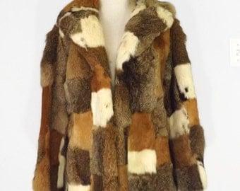 Vintage Rabbit Fur Patchwork Calico Jacket
