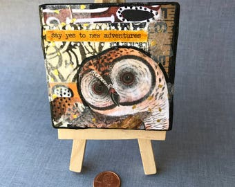 Owl New Adventure Mixed Media Canvas Art with Easel