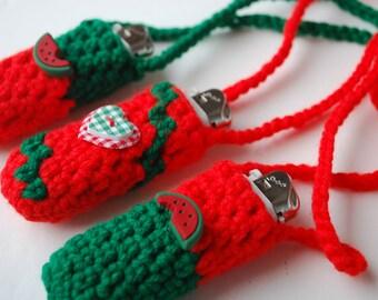 Set of 3 Lighter cozy holder necklace - lighter case - Watermelon