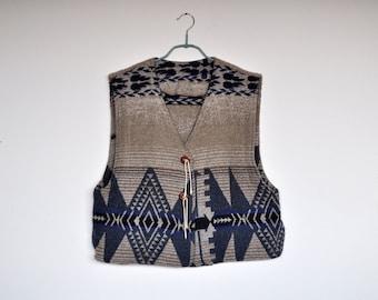 Vintage Southwestern Wool Cardigan Vest