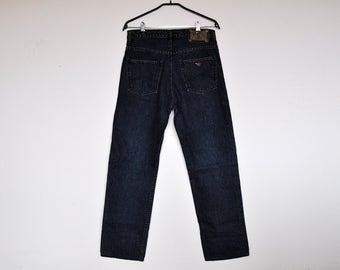 Vintage Giorgio Armani High Waisted Classic Dark Blue Jeans Denim Pants W32