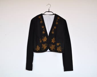 Vintage Black Handmade Bolero Cropped Jacket with Mustard Floral Embroidery