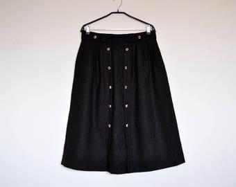 Vintage Dirndl Boiled Wool Grey Austrian Folk Oktoberfest Large Midi Skirt