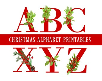 Red Christmas Alphabet & Number Printables, Christmas Alphabet Banner, Christmas Garland, Wall Art, Christmas Crafts