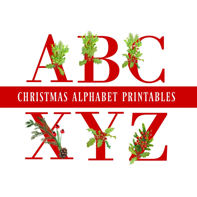 Red christmas alphabet number printables christmas - Alphabet noel ...