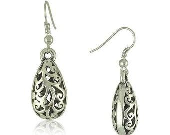 Pair of Handmade Antique Silver Filigree Teardrop Earrings, Bohemian Earrings, Earrings 12x24mm