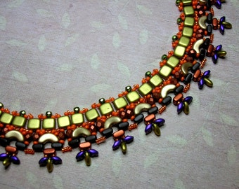 Tutorial - Mexico Necklace - Arcos, Ios, Super Duo, Czech matt and Fire Polish beads beading tutorial