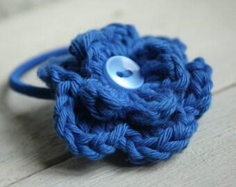 Royal Blue Hair Elastic with Blue Button