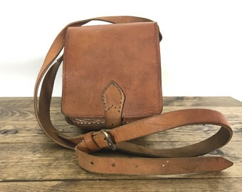 Vintage Leather Bag - 1970s Small whiskey Handmade Shoulder Purse